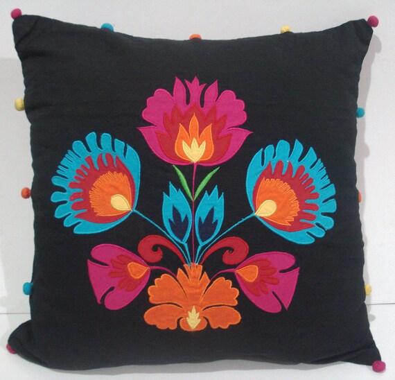 black pillow applique design accent pillow decorative pillow designer pillow orange pillow  needle point pillow embroidered pillow