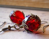 Blood Red Earrings Fire Polished Czech Glass Antiqued Brass