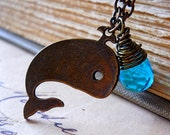 Whale Necklace Teal Blue Quartz Antiqued Brass Wire Wrapped Briolette Nautical Ocean Beachy Charm ONLY ONE