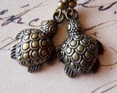 Sea Turtle Earrings Antiqued Brass Loggerheads Charm Dangles Nautical Beach Ocean Creatures Only One