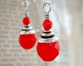 Red Drop Earrings, Czech Glass, Beaded Jewelry Dangles