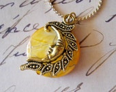Sun Necklace Celestial Gold Yellow Mother of Pearl Coin Metallic Iridescent Charm, Last One
