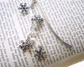 Winter Wonderland Bookmark, Snowflakes, Clear Ice Crystals, Silver Christmas Book Marker, Only One