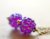 Disco Ball Earrings, Purple Drops Iridescent Dangles, Pave Crystals on Silver, Disco, Bright Jewelry Fashion Accessories