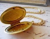 Locket Necklace, Antiqued Gold Large Oval Floral Enraving, Mothers Day Gift