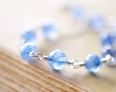 Blue Topaz Necklace, Sterling Silver and Gemstone, Cornflower Blue Wire Wrapped Stones