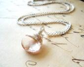 Pink Gemstone Necklace / Simple Wire Wrap Jewelry / Minimalist Pastel Stone on Sterling Silver / Mystic Pink Quartz Sparkly Jewelry