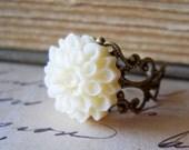 Ivory Dahlia Ring, Antiqued Brass Filigree, Flower Jewelry, Shabby Chic Cream Off White