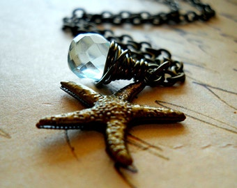 Starfish Necklace with Wire Wrapped Mint Teardrop, Aqua Quartz and Bronze Sea Star Fish Charm, Nautical Beach Cottage Jewelry Coastal Living