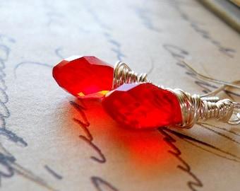 Fire Red Teardrop Dangle Earrings, Elegant Silver and Red Wire Wrapped Swarovski Crystal Drops, Fiery Red Briolette Earrings, Red Jewelry
