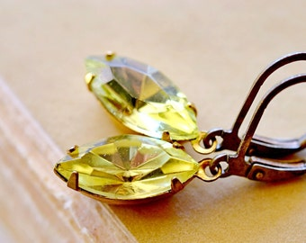 Yellow Vintage Rhinestone Earrings, Estate Style Jewelry,  Lemon Yellow Jewel Dangles, Marquise Navettes, Jonquil