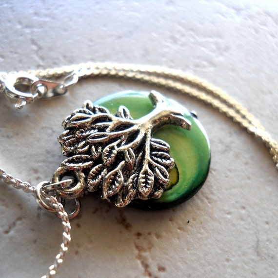 Tree of Life Necklace Green Mother of Pearl Earth Gaia