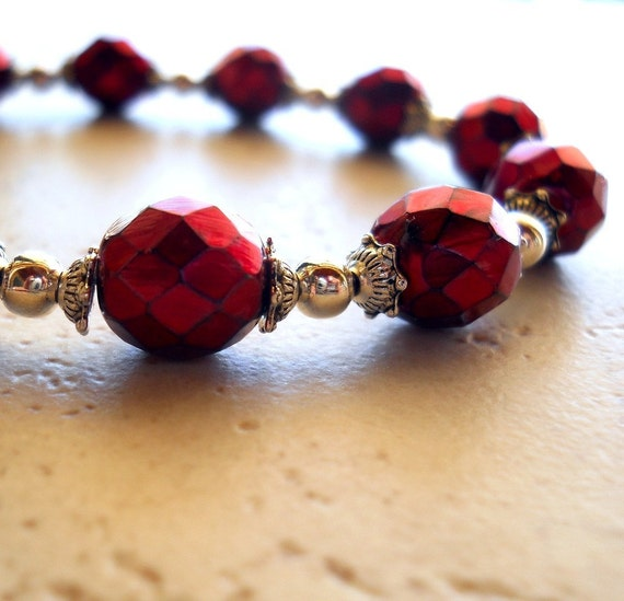 Metallic Red Bracelet Czech Glass Disco Faceted Silver