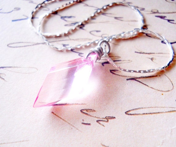 Pink Diamond Necklace, Crystal Wire Wrapped, Marquise Shape, Spectrum, Only One