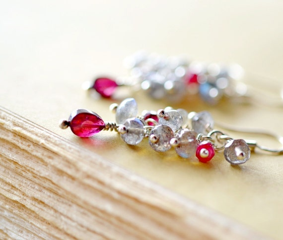 Garnet and Labradorite Earrings, Sterling Silver and Gemstones Chandelier Earrings, Flash Gray and Deep Red Wine Stones