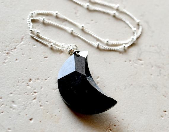 Moon Necklace, Black Necklace, Black Moon Necklace, Celestial Jewelry, Gothic Jewelry, Halloween Jewelry