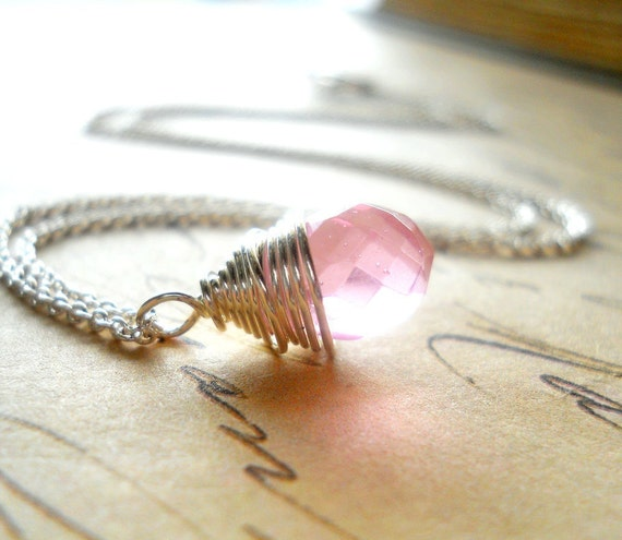 Pink Quartz Necklace, Sterling Silver Wire Wrapped Teardrop Briolette Pendant