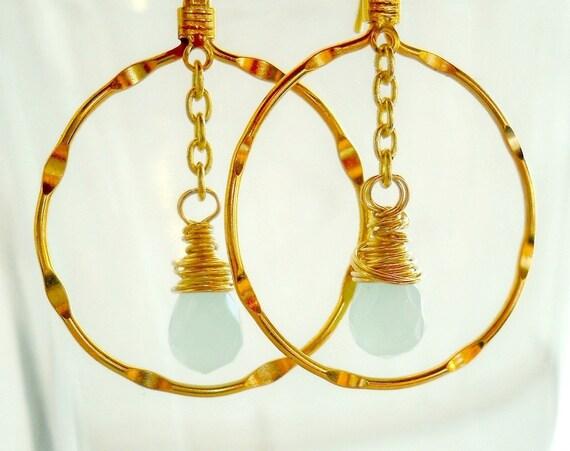 Gold Hoop Earrings, Gemstones, Aqua Quartz Wire Wrapped Briolettes, Geometric Circles Mist Drops