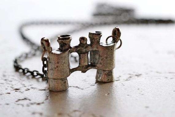 Binoculars Necklace, Antiqued Binocular Charm on 28 Inch Chain, Dark Silver
