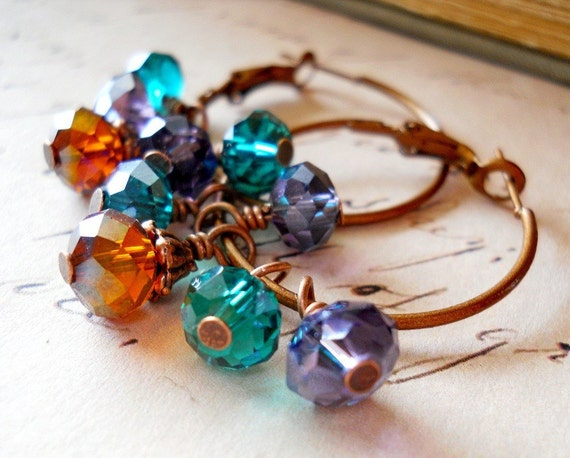 Sparkly Jewel Tone Beaded Hoop Earrings / Teal Green, Purple, Topaz Crystals, Clustered Beads, Dangle Drops, Antiqued Copper Hoops