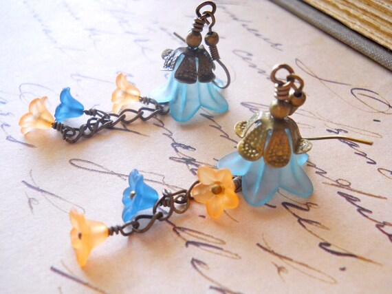 Flower Chandelier Earrings, Teal and Orange, Aqua and Rust Floral Dangles, Fall Fashion