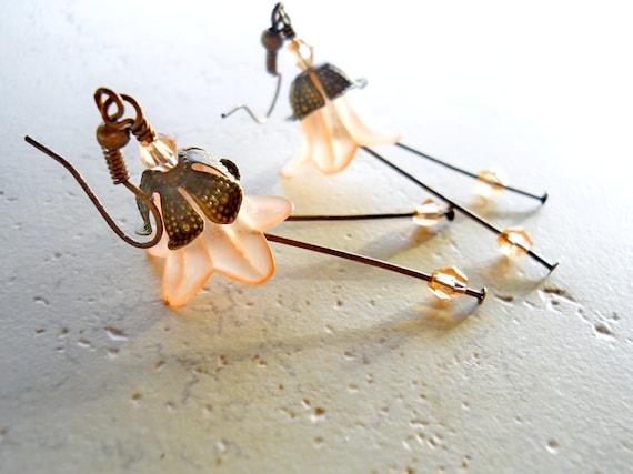 Peach Earrings, Flower Jewelry, Crystals, Antiqued Brass, Salmon Flowers Trumpet Dangle Drops