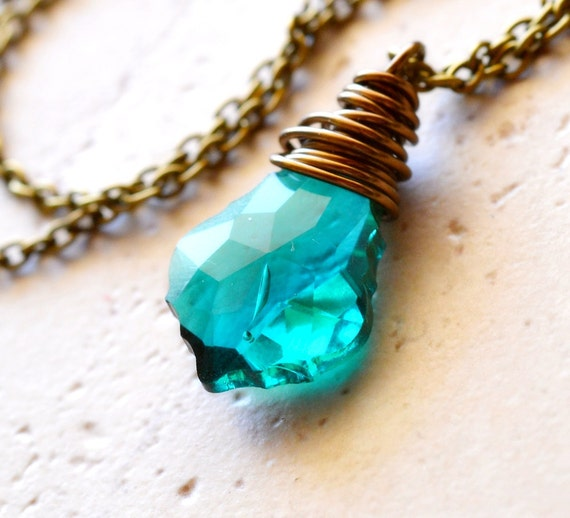 Emerald Swarovski Necklace, Wire Wrapped, Crystal Pendant, Antiqued Brass and Dark Teal Green