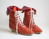 Neon Woven Leather Ankle Boots