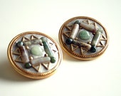 Navajo Jeweled Earrings - Geometric Pattern