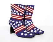 Fully Beaded Boots - Stars and Stripes - American Flag