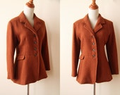 70s Rust Wool Coat - Fitted Jacket