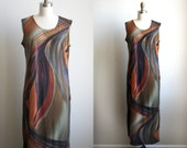 Vintage Abstract Print Maxi Dress - Painterly Print Dress - m/l