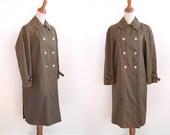 Vintage Raincoat - 60s Minimal Trench Coat - Olive Coat - by Misty Harbor - Grunge Fashion