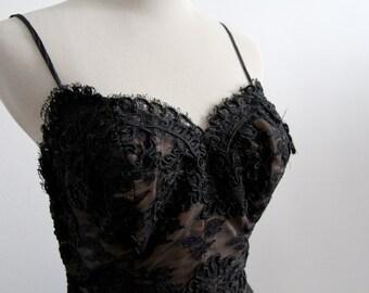 Illusion Lace Cocktail Dress - Little Black Dress