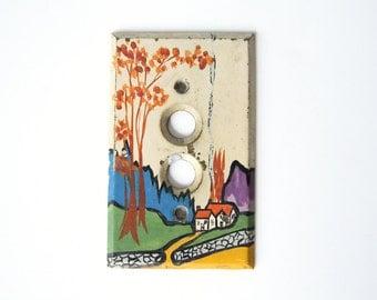 Vintage Folk Art Switch Plate Tiny Artwork