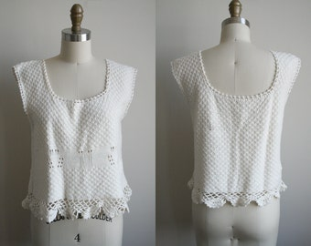 CLEARANCE Vintage Cotton Crochet Crop Top in White