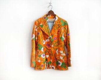 60s Neon Floral Print Jacket  - Designer Vintage