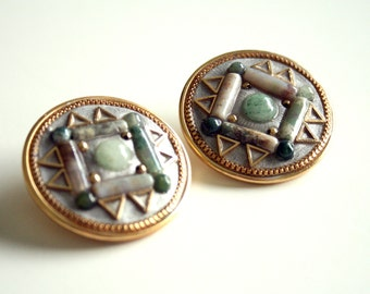 Gemstone Jeweled Earrings - Geometric Pattern