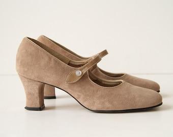 Vintage Suede Maryjanes - Birch Tan Suede - 60s Mod Shoes