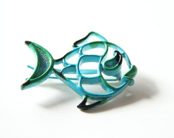 Sea Blue Fish Barrette - 60s Enamel Barrette