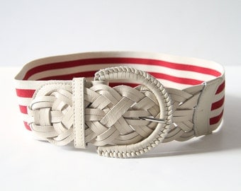 Braided Leather Belt with Candy Striped Wide Elastic