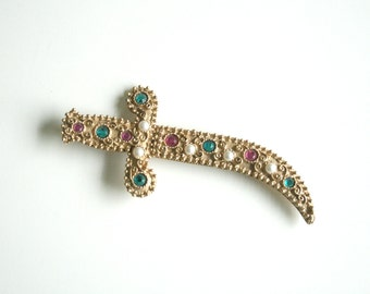 Jeweled Sword Brooch