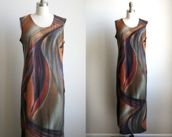Vintage Abstract Print Maxi Dress - Painterly Print Dress - m/l