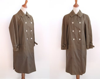Vintage Raincoat - 60s Minimal Trench Coat - Olive Coat - by Misty Harbor - Grunge Fashion