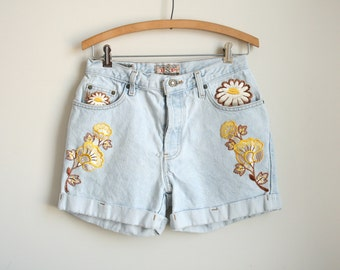 Daisy Patchwork 80s Denim Shorts