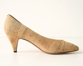 Almafi Cork Leather Heels - Formal Heels with Metallic Flecks