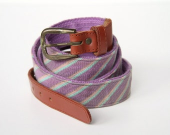 Vintage Canvas Belt, Pastel Lilac Striped Belt - Leather and Brass Buckle