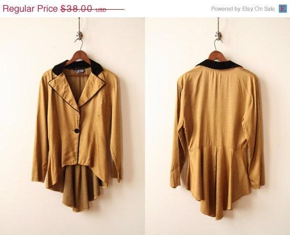 SPRING SALE Bronze Blazer with Coattails- Black Velvet Collar