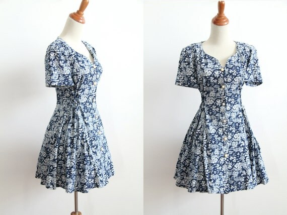 90s Grunge Toile Floral Dress