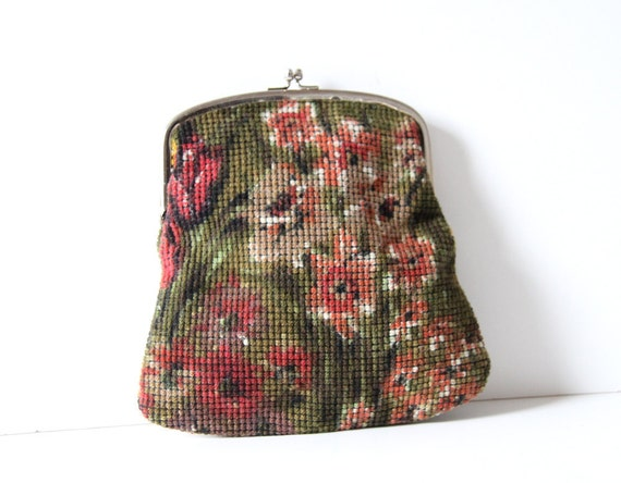 Framed Floral Tapestry Pouch